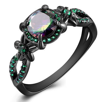 Black Gun Plated Natural Crystal Birthstone Women Rings Geometric Opal Druzy Rings For Party Wedding Gift 11 Colors CLOVER JEWELLERY