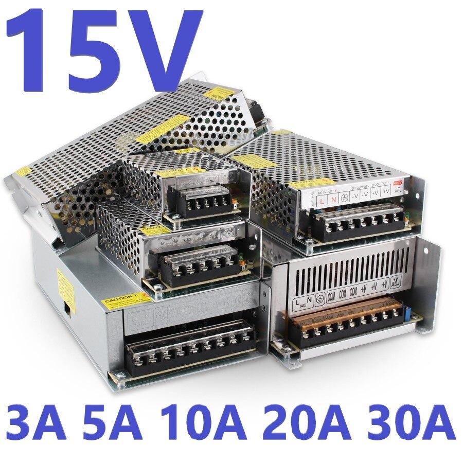 15 V adaptateur d'alimentation à découpage 110V 220V à 15 V 3A 5A 10A 20A 30A AC cc Smps 15 V alimentation en Fonte 75W 150W 300W 450W 500W W