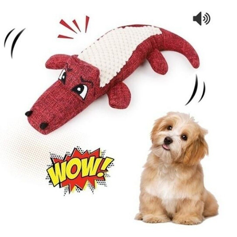 Pet Dog Toy Linen Plush Crocodile Animal Toy Dog Chew Squeaky Noise Toy Cleaning Teeth Supplies Toy Tough Interactive Doll 1PC 12