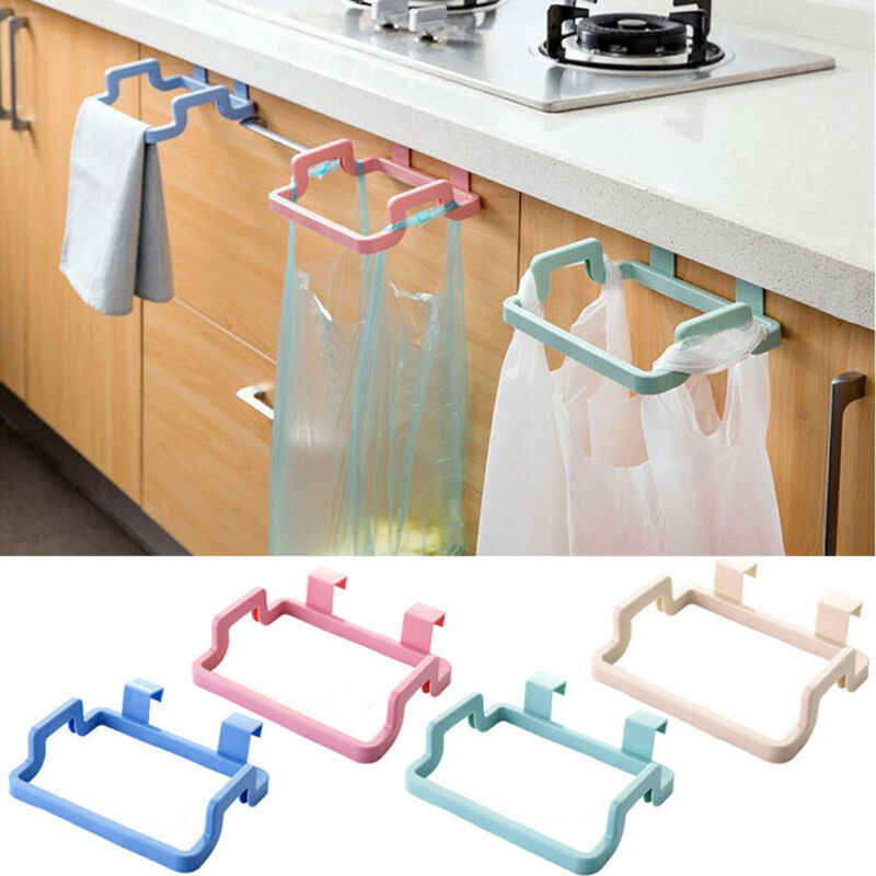 Trash Garbage Bags Support Holder Kitchen Door Back Hanging Style Cabinet Stand