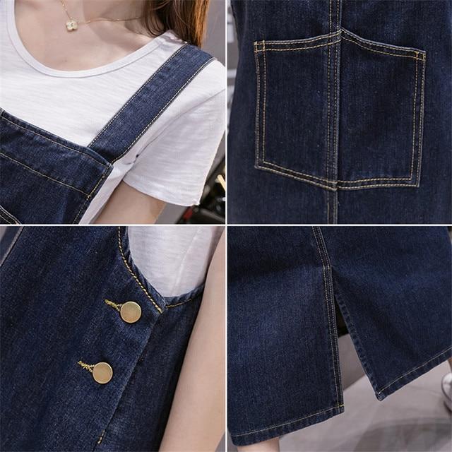 2021 New Korean Fashion Long Denim Sundress Vintage Jeans Dress Women Suspenders Dresses Female Overalls Robe Femme 6