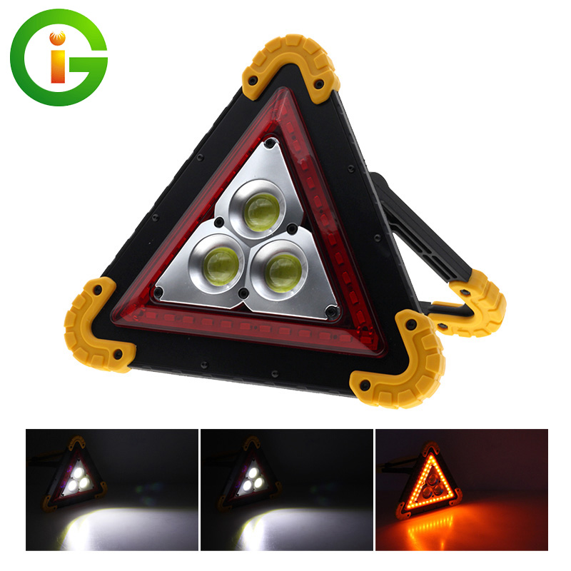 Portable LED Floodlight USB Handle Rechargeable COB Work Light  LED Car Warning Lamp Outdoor Camping Lamp Triangle Warning Light