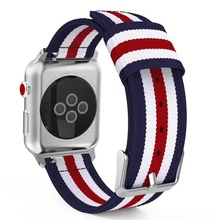 Nylon Stripe Strap for Apple Watch 5 4 3 2 1 Stripe Color Bands 38mm 42mm for iWatch 3 2 1 Bands 40mm 44mm forApple Watch