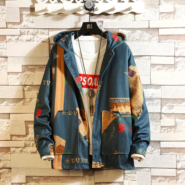New Fashion Hooded Bomber Jacket Men 2019 Men's Streetwear Funny Print Windbreaker Men's Korean Fashion Autumn Jacket Jacket