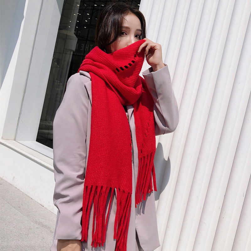 Winter Wild Temperament Long Thick Warmth Trend Men Women Solid Color Scarf Couple Knitted Woolen Yarn Keeps Warm Shawl  A82