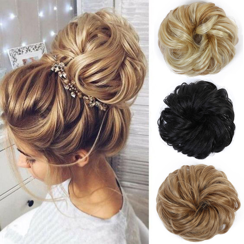 SHANGKE Scrunchie Chignon With Rubber Band Brown Gray Synthetic Hair Ring Wrap On Messy Bun Ponytails Hair Extensions