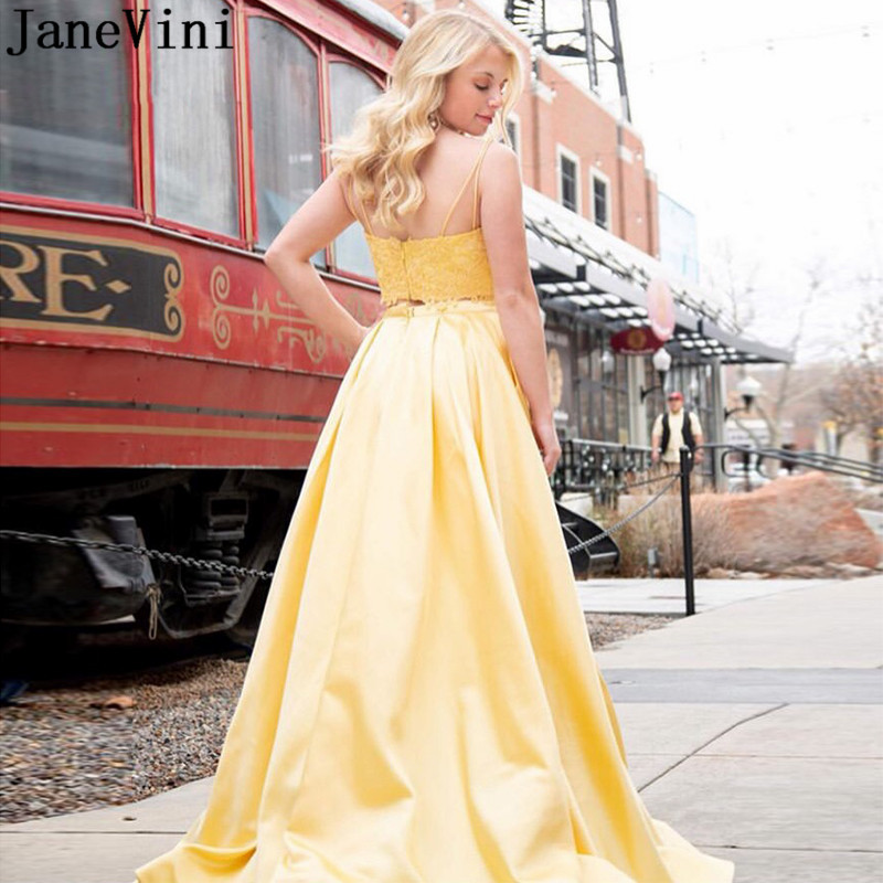 JaneVini Elegant 2 Pieces Yellow vestido Prom Dress with Pockets Front Split Long Lace Satin Special Occasion Dresses Party Gown