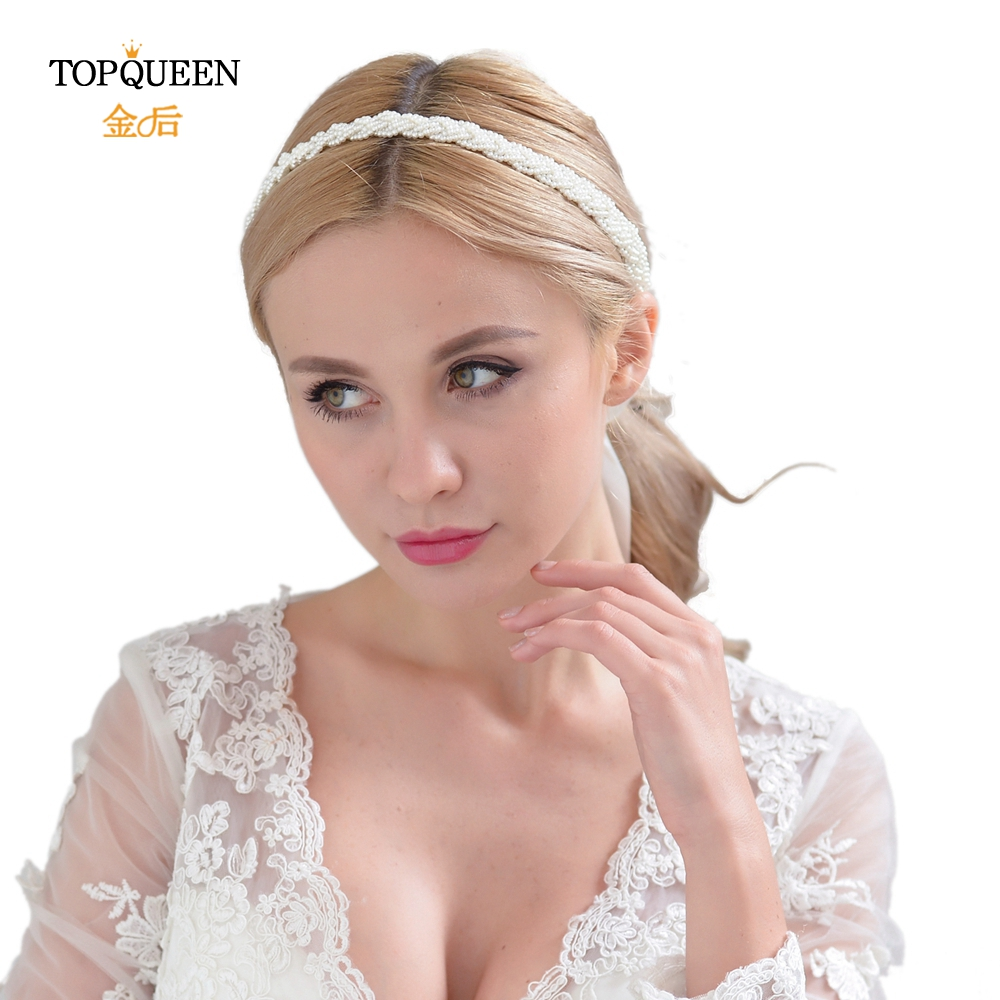 TOPQUEEN Wedding Cristal Headband Women Headband For Wedding Baby Girl White Christening Headband Pearl Baptism Wedding H262