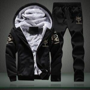 Image 3 - Kış erkek setleri Hoodies sıcak kalın polar rahat eşofman erkek spor kapşonlu ceket + pantolon 2 adet setleri baskılı eşofman erkek