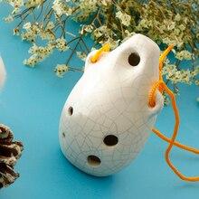 Pro 6 Hole Alto C Key Ocarina Ceramic Musical Instrument with Cord