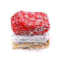 wholesale 500pcs 9x12cm Gold/Red/White Snow flowers And Star Christmas Wedding voile Organza Bags Jewlery packing Gift gift