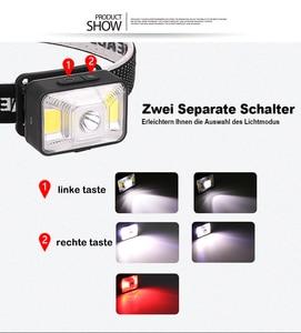 Image 3 - 5000LM LED פנס פנס נטענת פנסים, XPE LED + 2 * COB USB כבל, עמיד למים ראש לפיד עם אדום/לבן אור