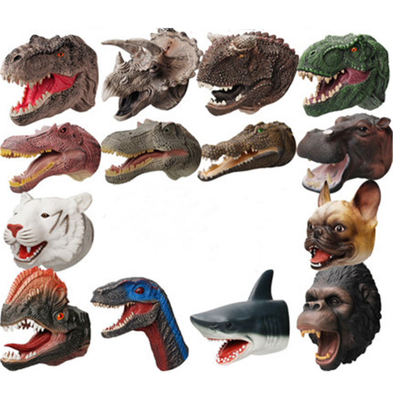 14 Styles Soft Doll Dinosaure Hand Puppets Figure Head Animal Arm Dino Toys For Stories Gift Children Model World