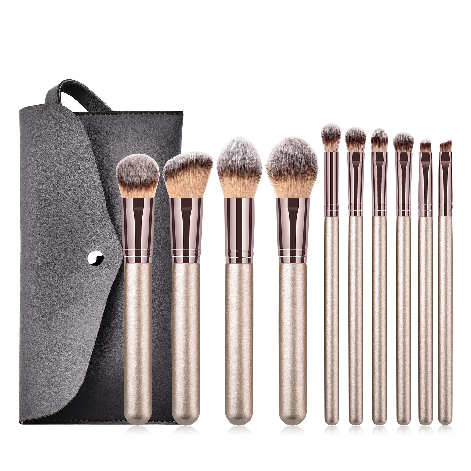 Makeup Brush-The Champagne Gold 10pcs Super Soft Fiber Makeup Brushes Set-high Quality Face&eye Cosmetic Pens-nylon Hair