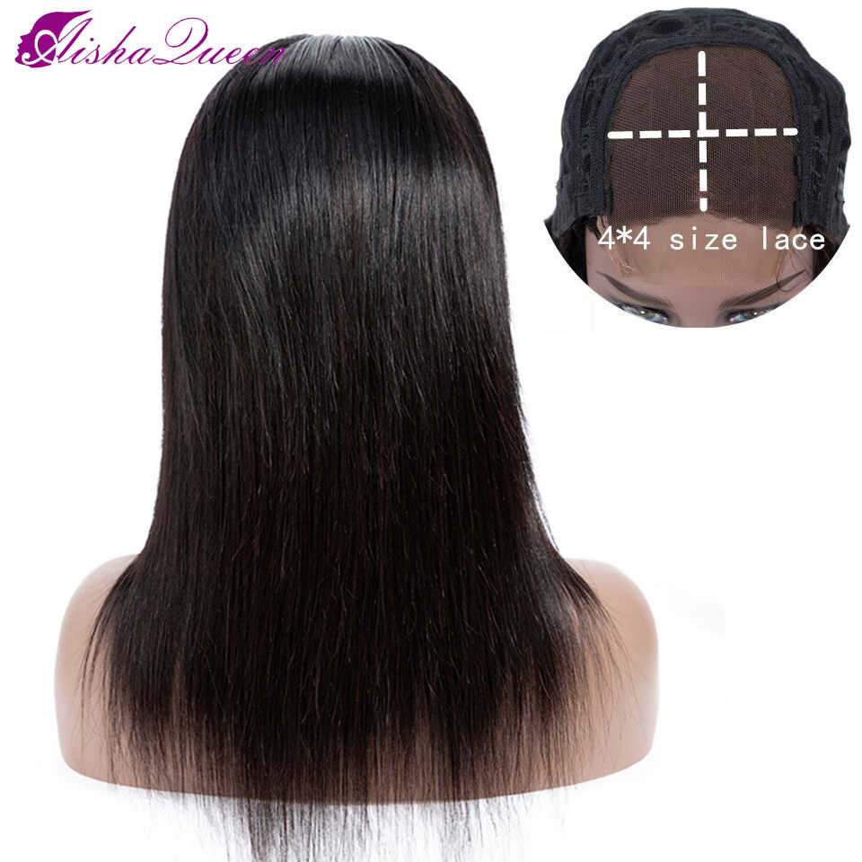 Aisha Queen Hair 4*4 Closure Human Hair Wigs Peruvian Straight Wave Human Hair Wig Non-remy Natural Color Lace Wigs For Woman