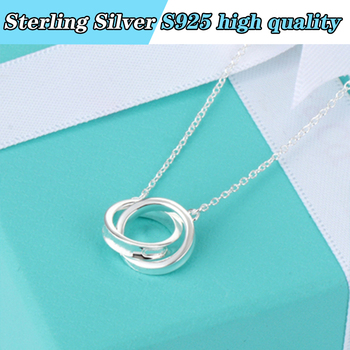TIFS925 law of silver necklace, classic double ring round original Necklace 1:1. Favorite gift jewelry