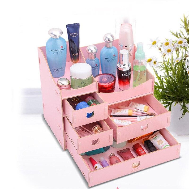 Ящик-тип деревянный ДВП спальня Рабочий стол красота уход за кожей макияж коробка для хранения-