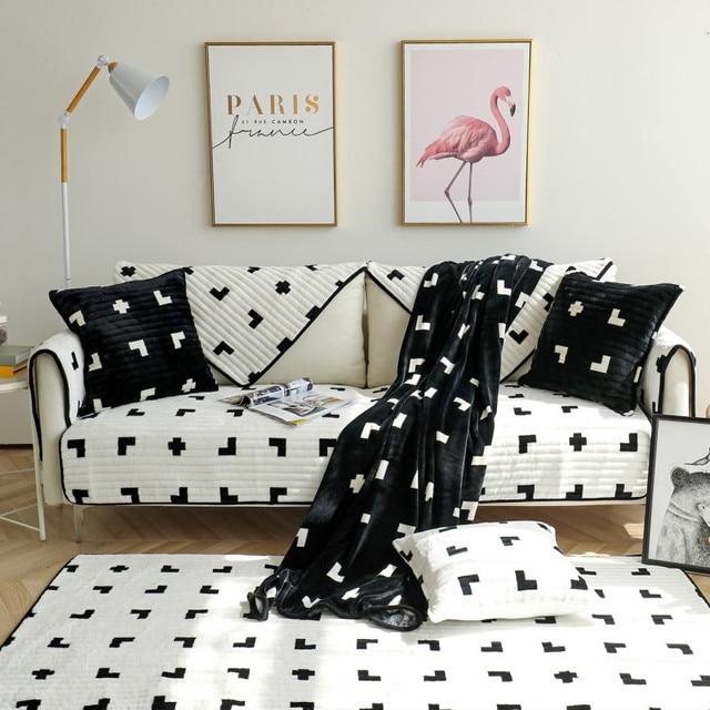 Фото зимняя нескользящая плюшевая диванная подушка всесезонная универсальная