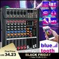Профессиональный 6 канал USB Студия аудио bluetooth DJ микшерный пульт усилитель смесителя караоке цифровой мини-микрофон DJ микшер