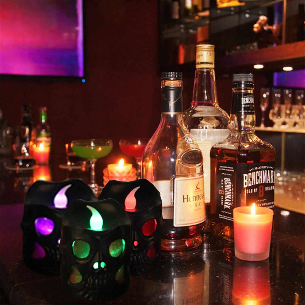 ליל כל הקדושים קישוט גולגולת נר לילה אור מקורה DIY שיפוע צבעוני מנורת לילה pisca luces led דקור luces דה navidad A1
