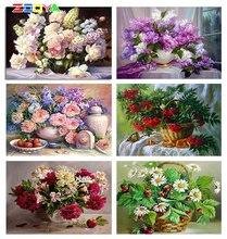 ZOOYA יהלומי רקמה אדמוניים 5D DIY יהלומי ציור פרחי יהלומי פסיפס אדמוניים ריינסטון תמונה פרחי בית תפאורה