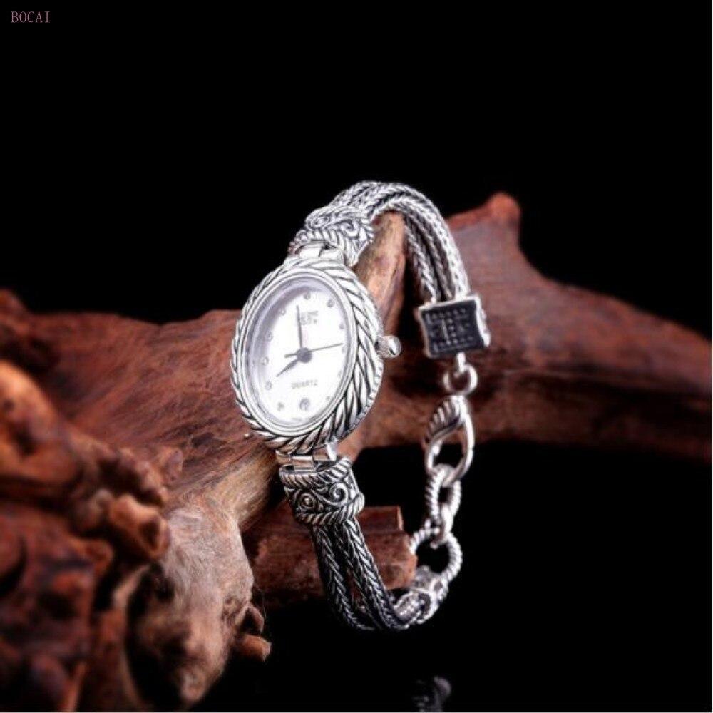 silver 925 New 925 sterling silver bracelets for women Thai silver women's Watch  for women 2019 new fashion jewelry