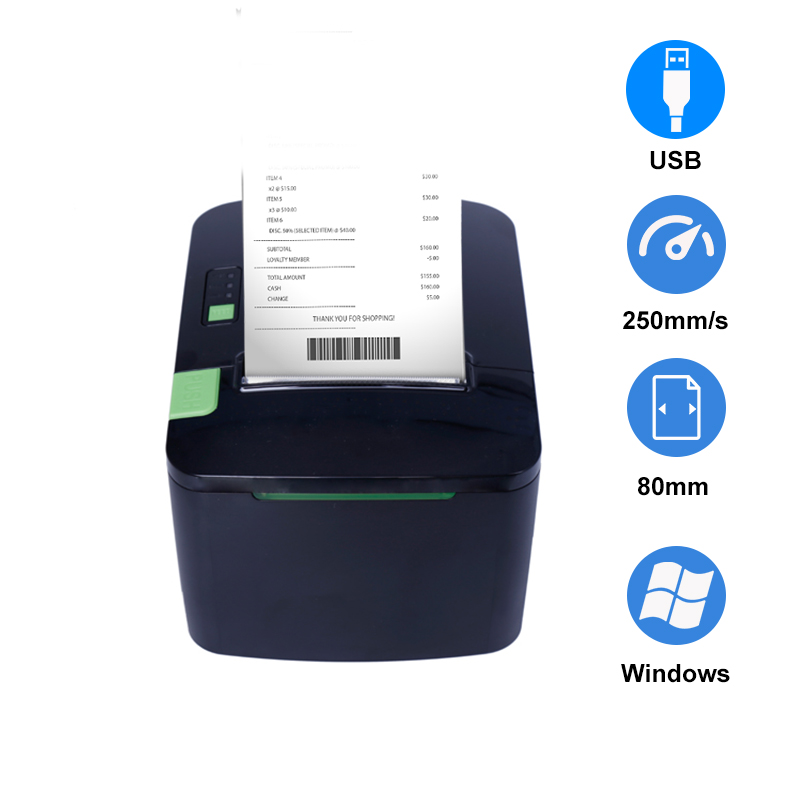 thermal receipt printer 80mm pos systems Ticket Printer USB Support Cash Drawer ESC/POS For Kitchen EU US Plug with card reader image