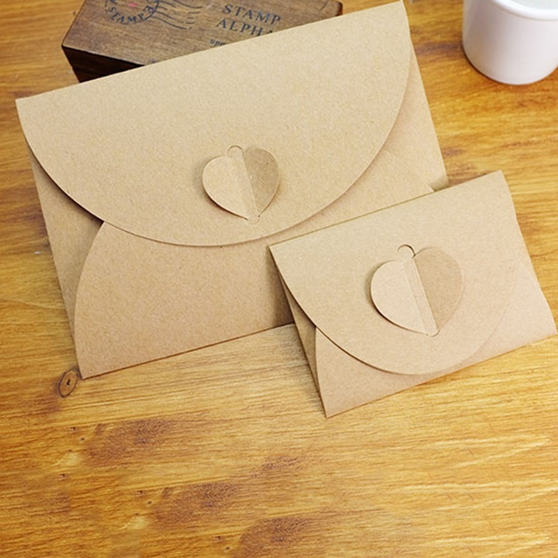 50pcs/lot Handmade Heart Kraft Envelope Vintage Paper Envelopes Stationery Set Postcard Photo Christmas Gift Package