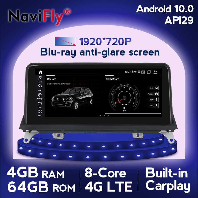 NaviFly 4GB Android 10.0 Car multimedia gps player for <font><b>BMW</b></font> <font><b>X5</b></font> <font><b>E70</b></font> X6 E71 2007-2013 Original CCC or CIC system IPS Screen Carplay image