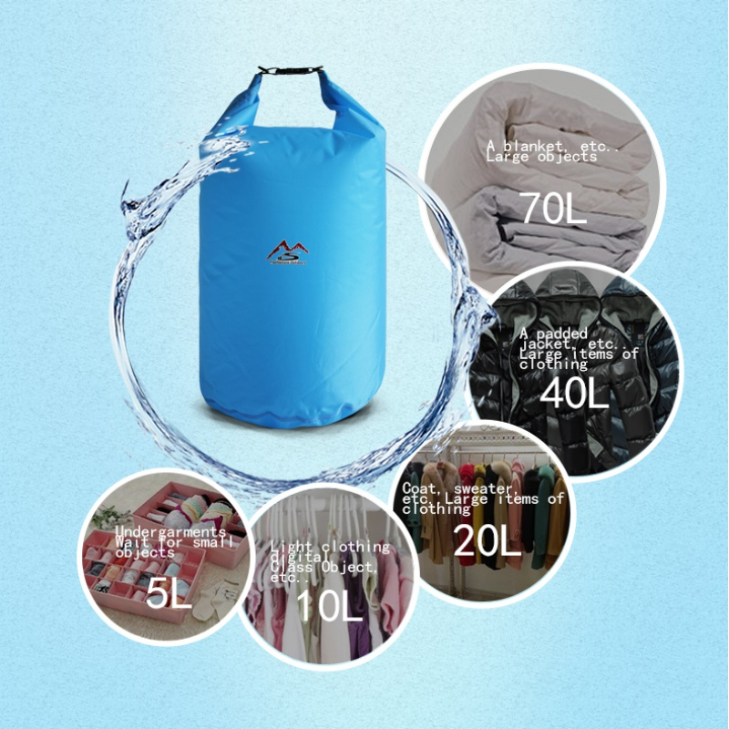 5L/10L/20L/40L/70L Outdoor Dry Waterproof Bag Floating Dry Gear Bags For Outdoor Boating Fishing Rafting Swimming