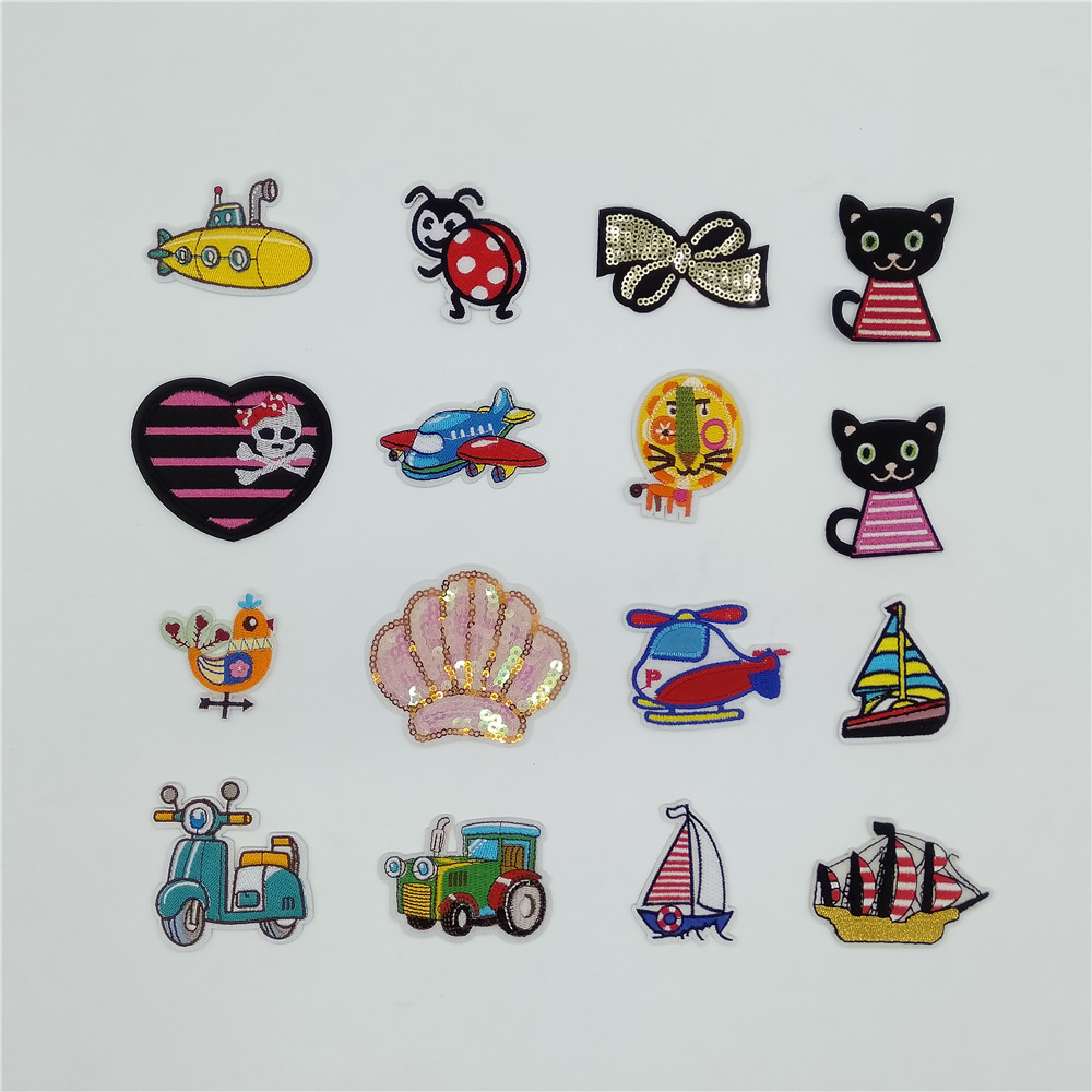 16pc Embroidery Skull Patch Badge Transfer Fabric Bag Clothes Applique Craft