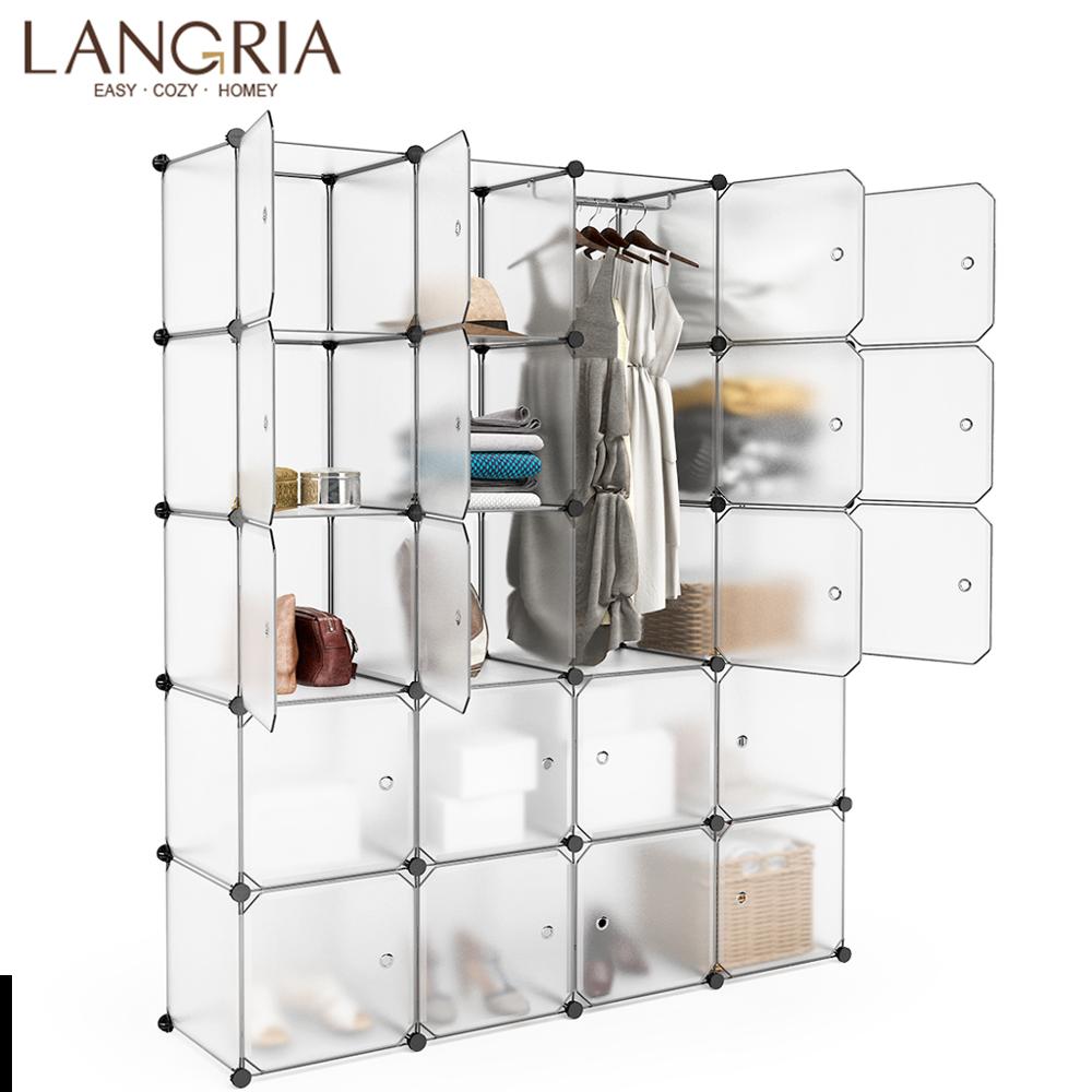 LANGRIA 20 16 Cube Mutiluse Modular Storage font b Closet b font Wardrobes Plastic Cube Freely