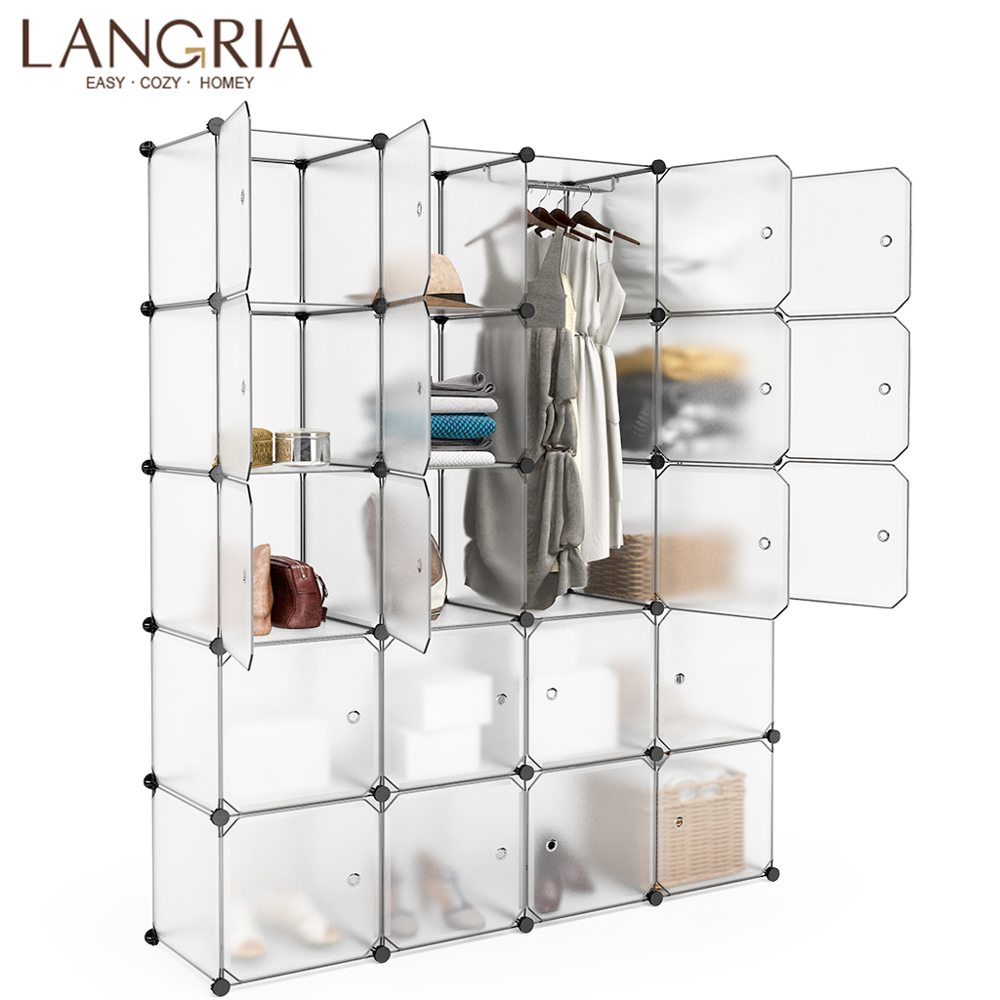 LANGRIA 20 Cube Mutiluse Modular Storage Closet Wardrobes Plastic Cube Freely Assembled Oragnizer Closet Cabinet Pure White