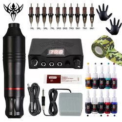 Tattoo Machine Kits Tattoo Power Supply Rotary Pen With Cartridges Needles Permanent Makeup Machine For Tattoo Beginners Artist