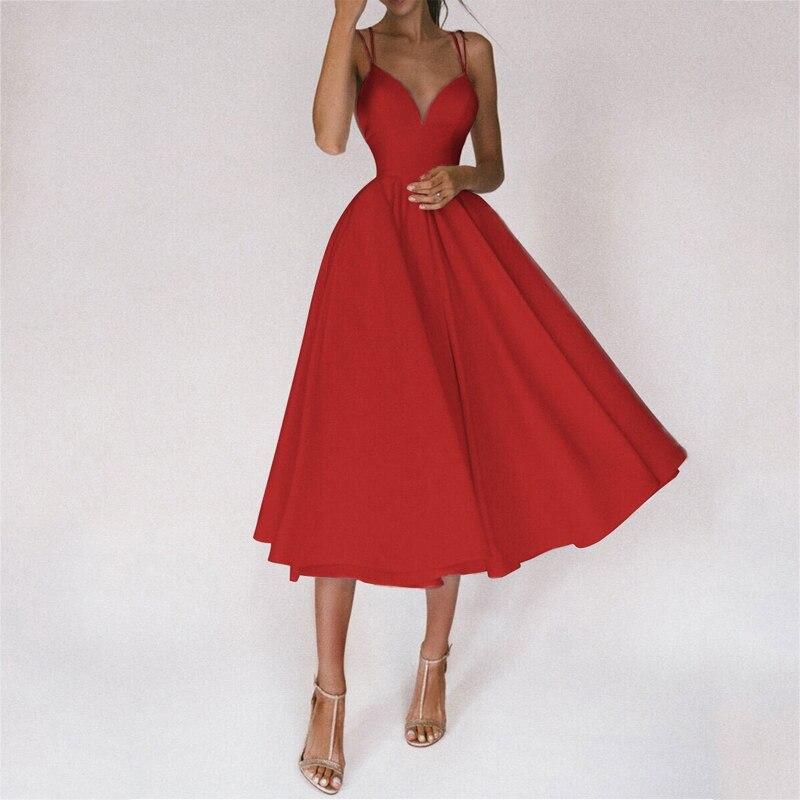 Gosfairy 2021 Women Sexy Ball Gown Prom Dresses New Lady Solid V Neck Backless Party Slip Dress Summer Elegant Slim Vestido