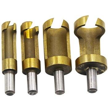 4pcs 6.3mm Round Shank Carbon Steel Wood Plug Cutter 6mm8mm13mm16mm Woodworker Drilling Tennon Hole Cutters Drill Bit - sale item Drill Bit