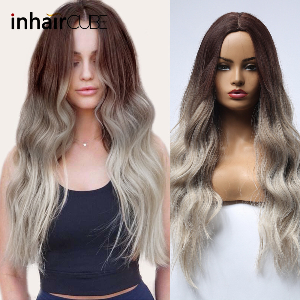 Inhair Cub Dark Roots Ombre Wig Synthetic Long Wigs For Women Long Natural Wave Hair With Bangs Simulation Scalp Free Shipping