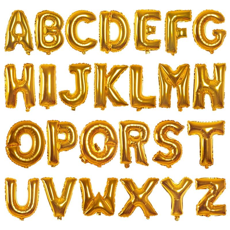 16-inch 26 letras A-Z ouro alumínio filme balão festa de aniversário dia dos namorados decoração do quarto de casamento decoração balão