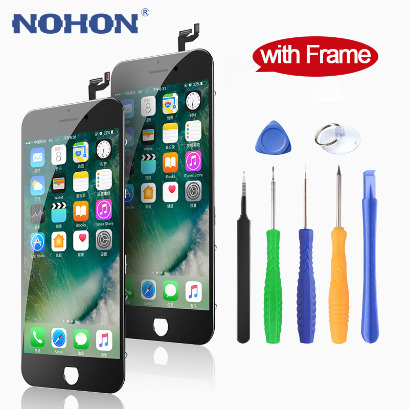 NOHON Display LCD For iPhone 6 6S 7 8 Plus X Screen Replacement HD 3D Touch Digitizer Assembly With Frame AAAA Mobile Phone LCDs(China)