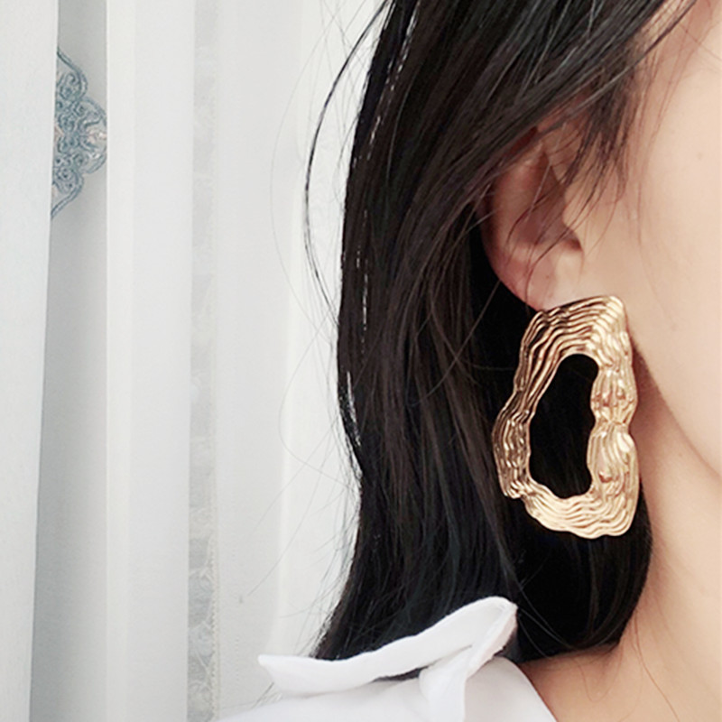 European Brand Big Drop Earrings For Women Hollow Irregular Geometric Oval Round Metal Exaggerated Earrings ZA Jewelry