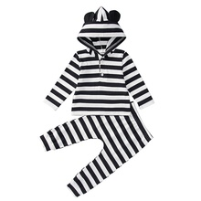 Spring Autumn Casual Fashion Baby Striped Long Sleeve Hoodies And Trousers Kids Two-piece Outfit Set