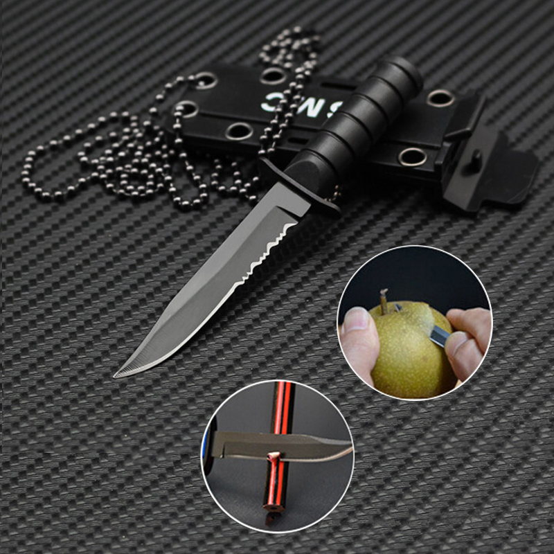 Outdoor Hunt Survive Hike Pocket Self Defense Box Letter Package Open Opener Portable Mini Necklace Blade Fruit Knife Camp