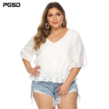 PGSD Autumn Big size women clothes Casual Stitching embroidered V-Neck half sleeve irregular Hollow white T-shirt Pullover 4XL