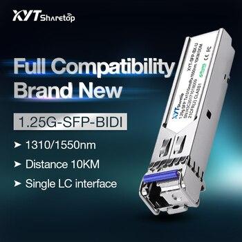 Sharetop single mode 1.25G optical transceiver module SFP-1.25G-BIDI 1310/1550nm LC port 3/10/20/40/60km full compatible 1 pair sharetop 1 25g 1000m optical transceiver module multi mode dual fiber sfp 1000m 850nm 550m dual lc port full compatible