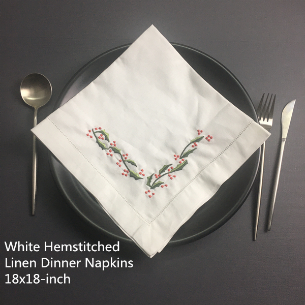 Set Of 12 Fashion Wedding Napkins White Hemstitched Linen Table Napkin With Color Embroidered Floral Dinner Napkins 18x18-inch