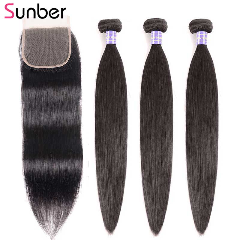 SUNBER HAIR Remy Peruvian Straight Hair 3 Bundles With Closure 4x4 Inch Swiss Lace Free/Middle/Three Part Closure Free Shipping