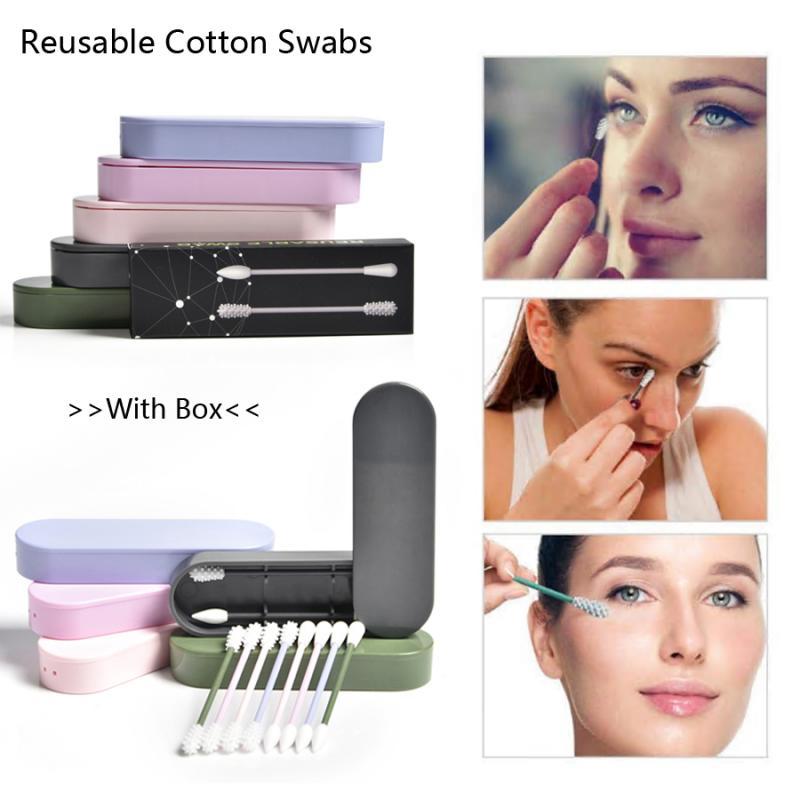 Многоразовые ватные тампоны для чистки ушей, косметические ватные тампоны, силиконовые тампоны для очистки макияжа, тушь для наращивания р...
