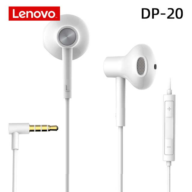 Lenovo DP20 White Stereo Bass Earphones For Lenovo Xiaomi Samsung Phone MP3 MP4 3.5mm jack wired control HiFi Earbuds Headset