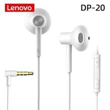 Lenovo DP20 beyaz Stereo bas kulaklık Lenovo Xiaomi Samsung telefon MP3 MP4 3.5mm jack kablolu kontrol HiFi kulaklıklar kulaklık