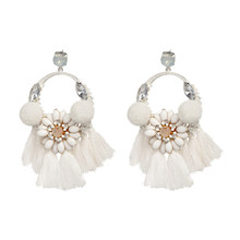Ladies Rhinestone Flowers Long Tassel Earrings Bohemian Jewelry Girl Earrings Christmas Gifts(China)
